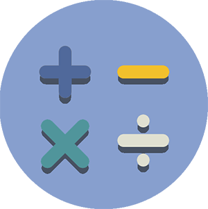 add, subtract, divide and multiply icons in a circle